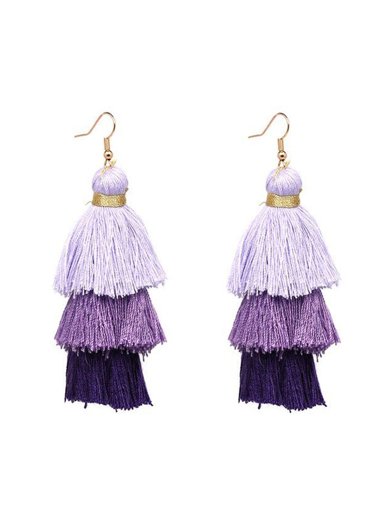 'Denise' Triple Drop Tassels Earrings (9 Colors)