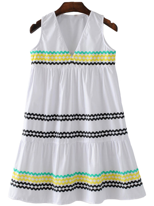 'Sally' Line Pattern V-neck Peplum Sleeveless Dress
