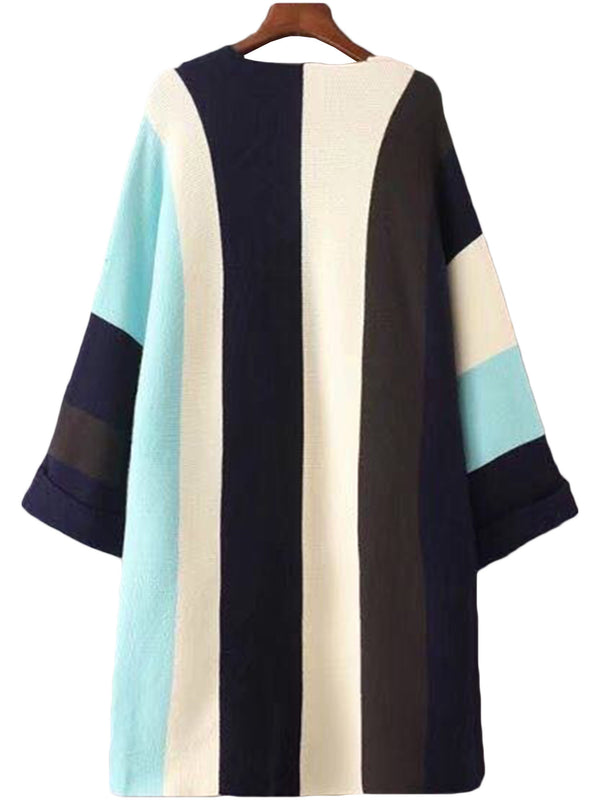 'Kari' Turquoise Color Block Open Cardigan