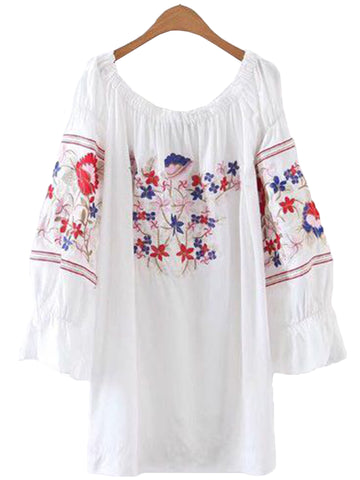 'Maeve' Embroidered Off Shoulder Dress