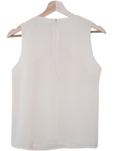 'Julie' Cream White Silk Sleeveless Top