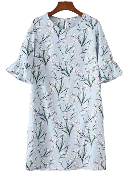 'Janay' Floral Print Flare Sleeve Dress