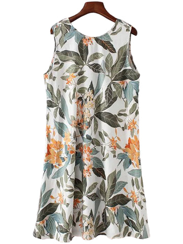 Lily' Palm Print Back V-neck Dress