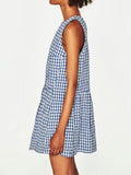 'Raina' Gingham Blue Sleeveless Peplum Dress