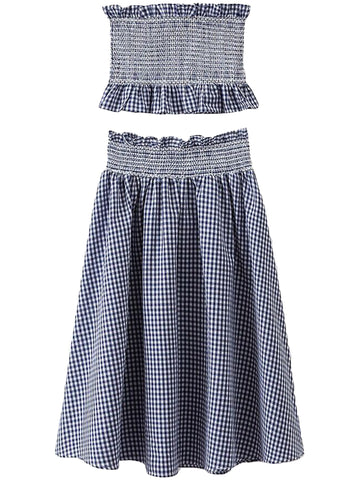 'Marley' Blue Gingham Embroidered Lace Midi Skirt