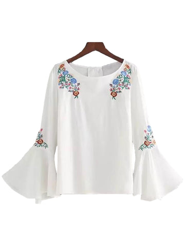 'Nell' Embroidered White Flare Sleeve Top