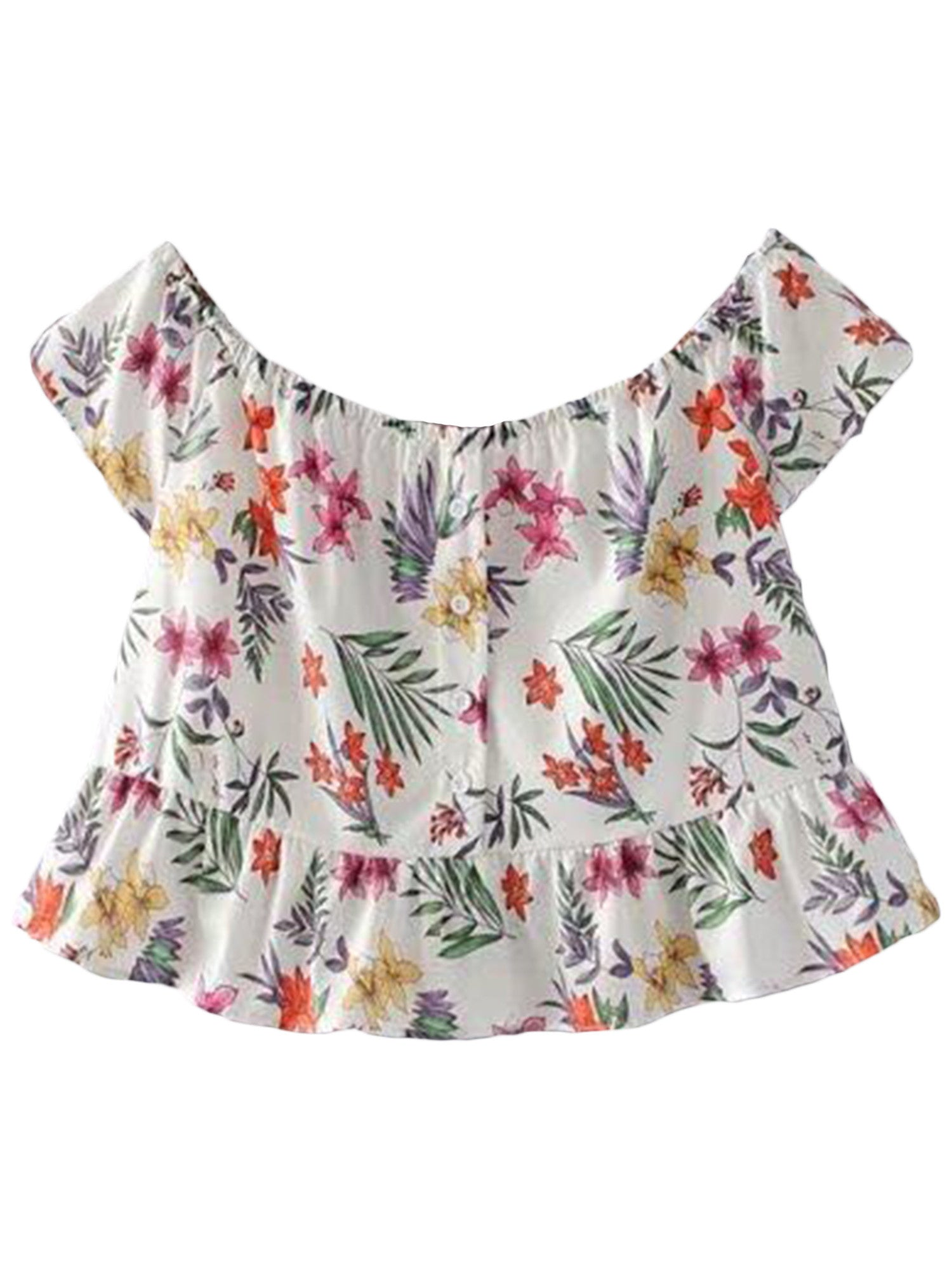 'Presley' Floral Off Shoulder Button Up Peplum Top