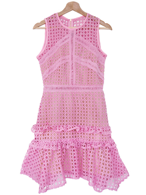 'Odessa' Pink Lace Crochet Frill Sleeveless Dress