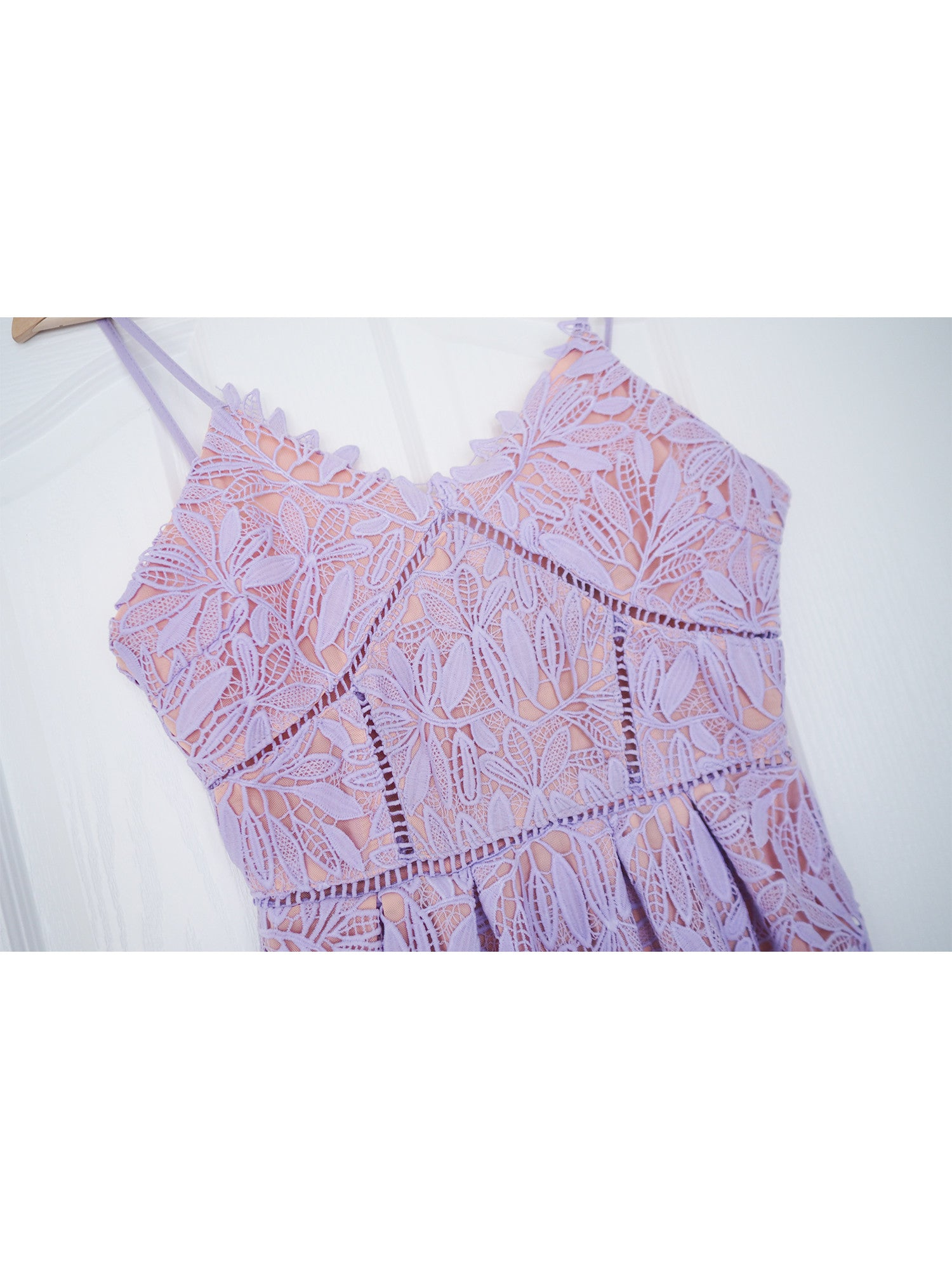 'Renetta' Purple Lace Crochet Cami Maxi Dress