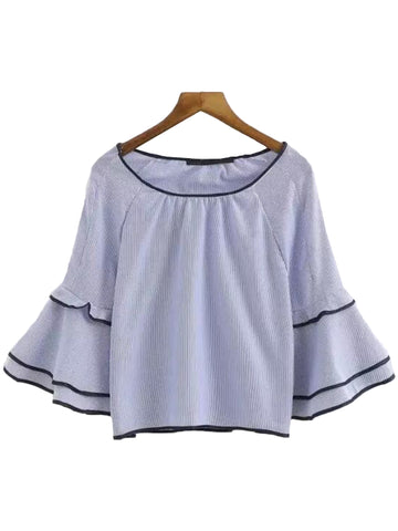 'Venice' Blue Pinstripe Ruffled Sleeve Top