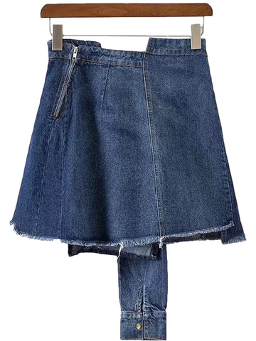 'Vivian' Denim Sleeve Tied Skirt