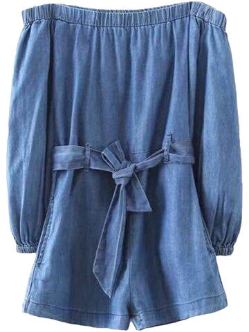 'Yuki' Chambray Tied Off Shoulder Romper