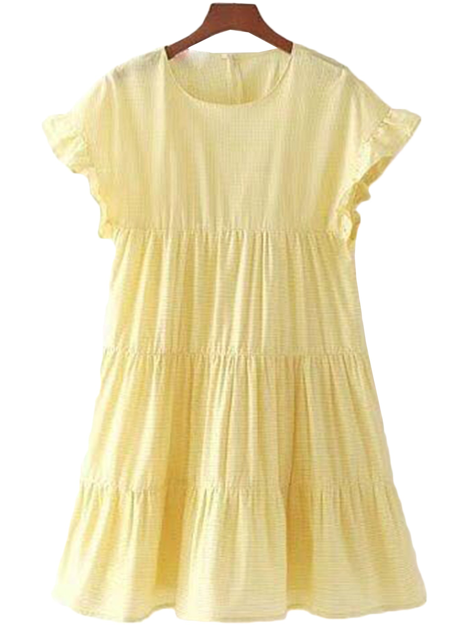 'Avery' Yellow Frilly Peplum Layered Dress