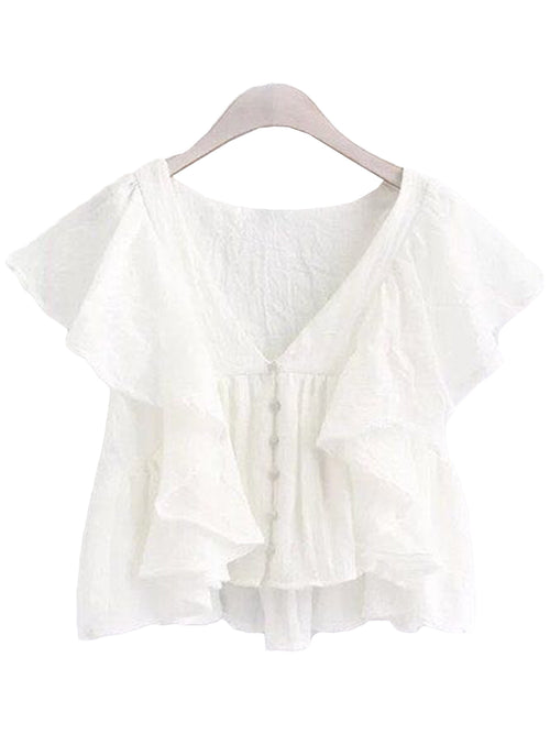 'Sasha' Ruffle V-Neck Top