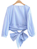 'Ora' Baby Blue Plaid Wrap Tied Shirt