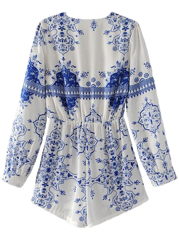 'Rosita' Open Wrap Embroidered Romper