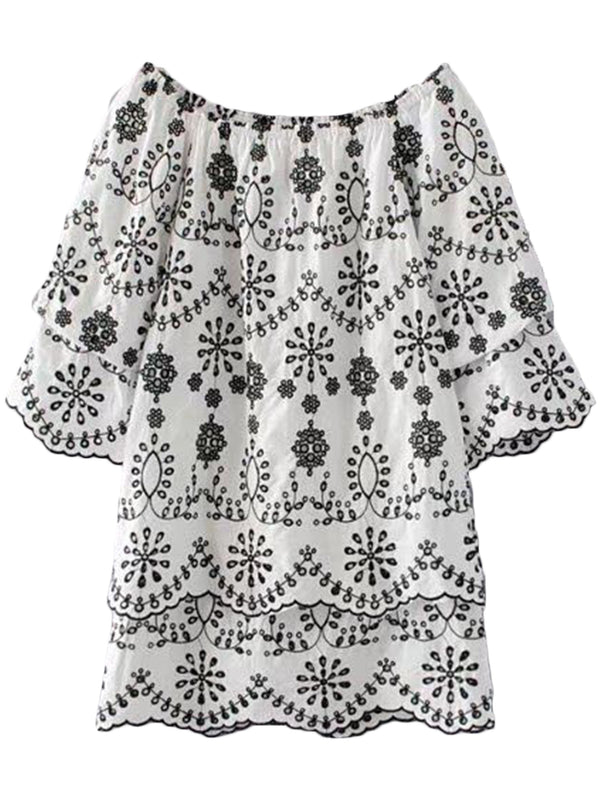 'Tamar' Embroidered Off Shoulder Dress