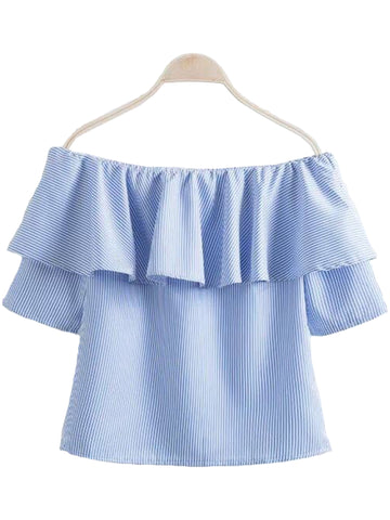 'Keva' Striped Ruffle Off Shoulder Top