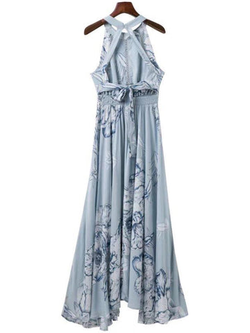 'Kayce' Blue Floral Choker Maxi Dress
