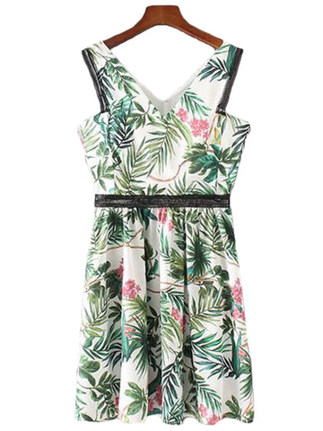 'Sina' Palm Print V-neck Flare Dress