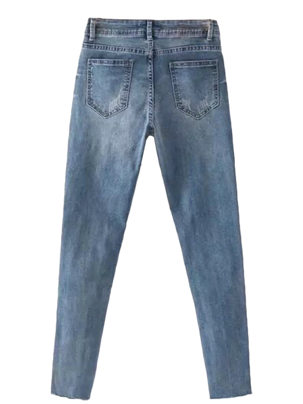 'Ruth' Dropping Petals Blue Denim Jeans