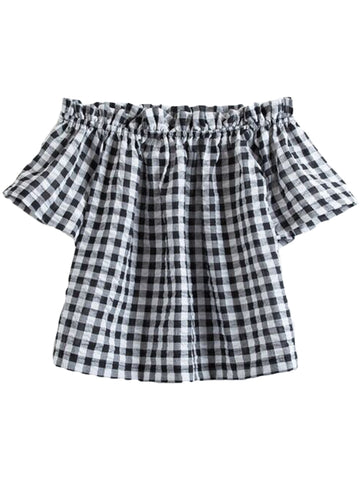 GOODNIGHT MACAROON 'Tosha' Gingham Seersucker Off Shoulder Top
