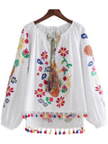 'Ruby' White Embroidered Tassels Top