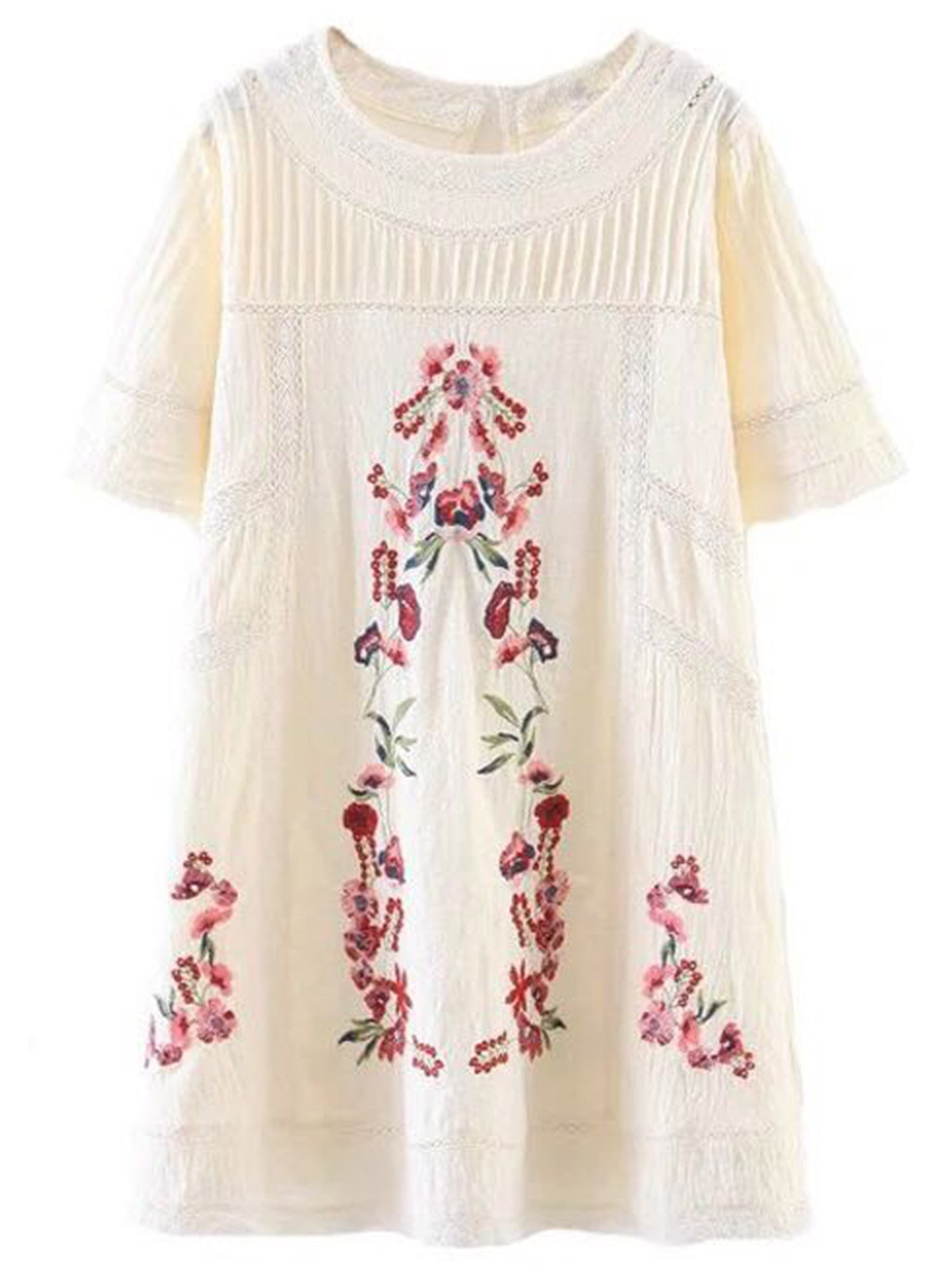 'Charlie' Cream White Embroidered Dress