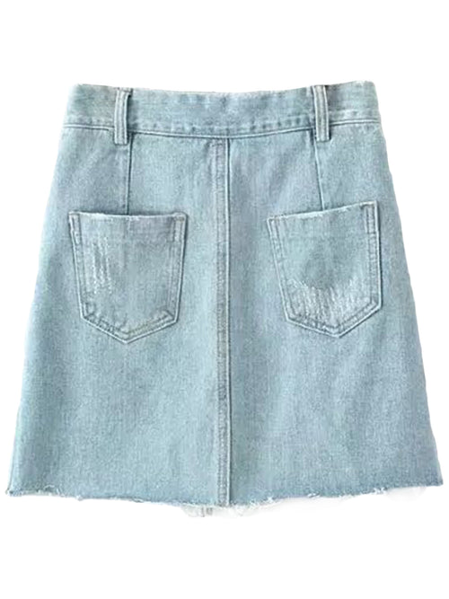 'Rosana' Raw Hem Denim Skirt