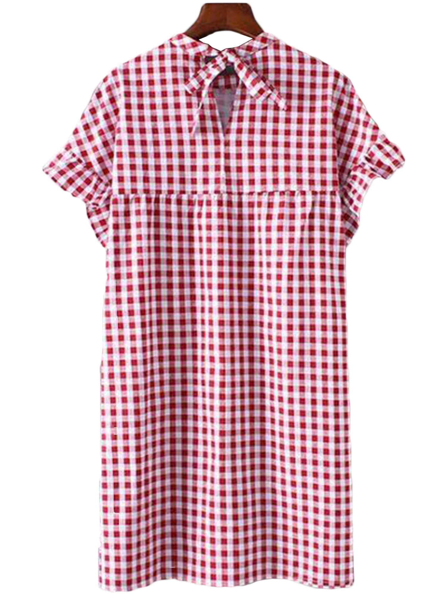 'Sloane' Red Plaid Frilly Sleeve Dress
