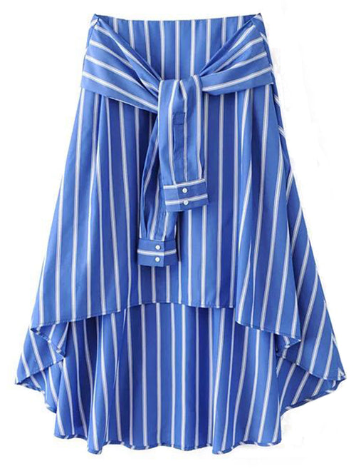 'Gemma' Blue Striped Shirt Long Skirt
