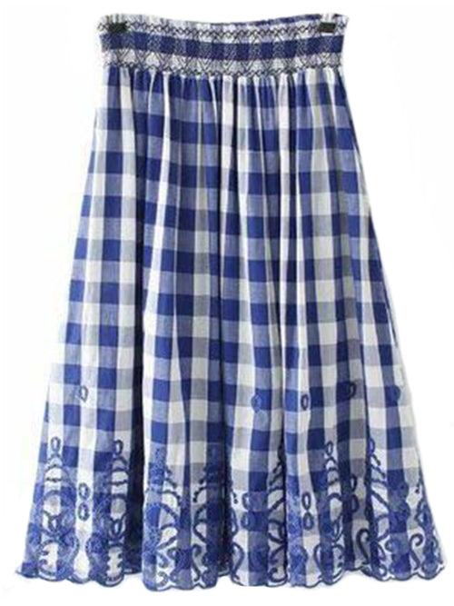 'Marley' Blue Plaid Embroidered Long Skirt