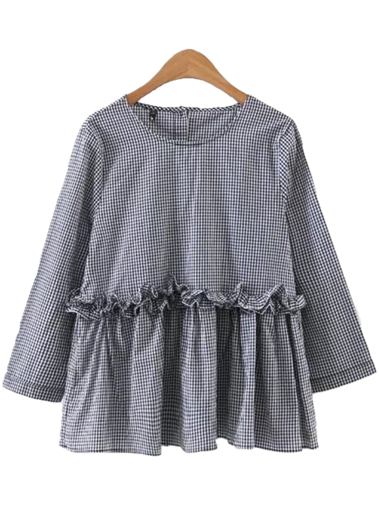 'Rowan' Plaid Frilly Peplum Dolly Top