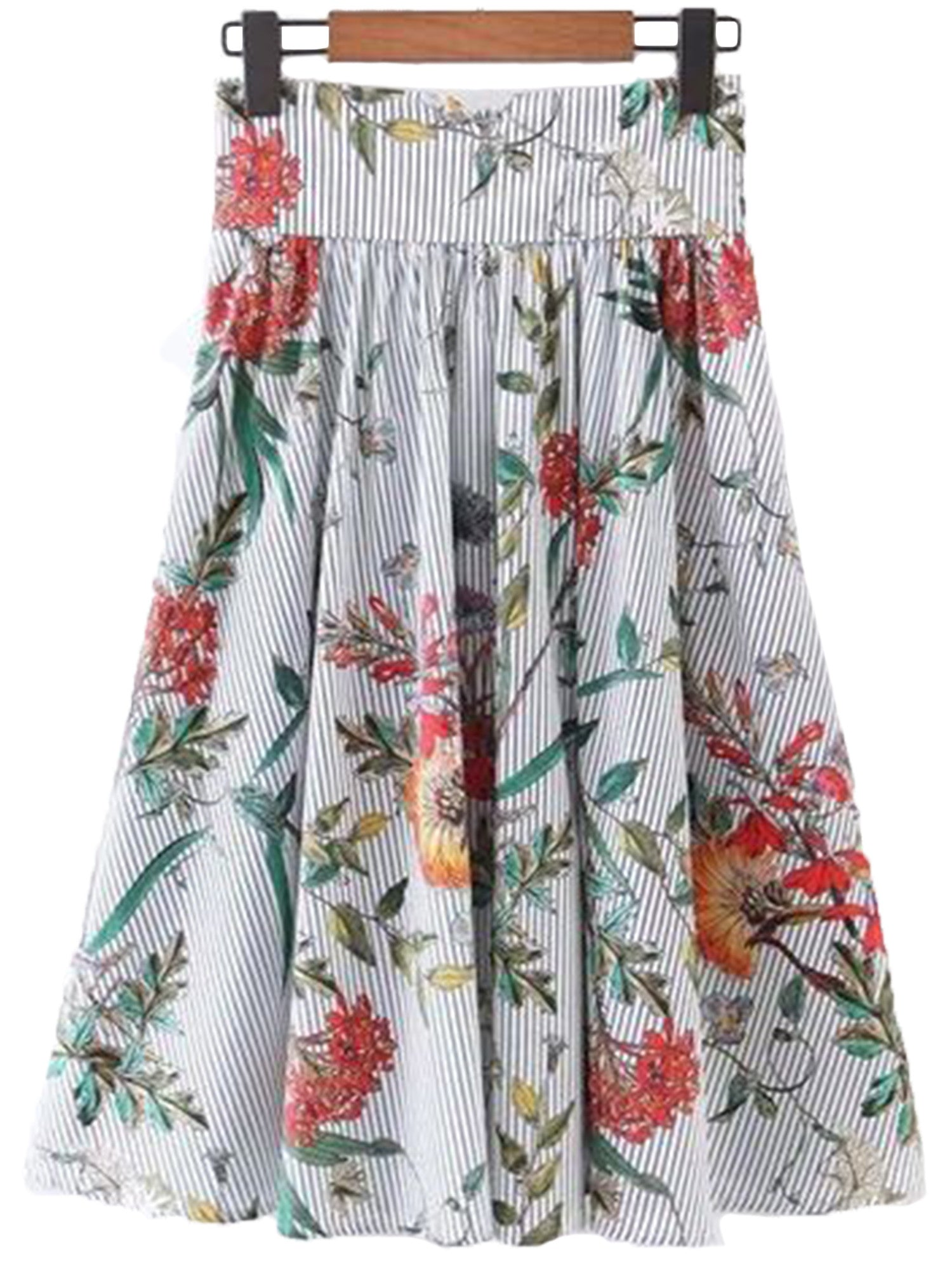 'Liberty' Striped Floral Flare Long Skirt