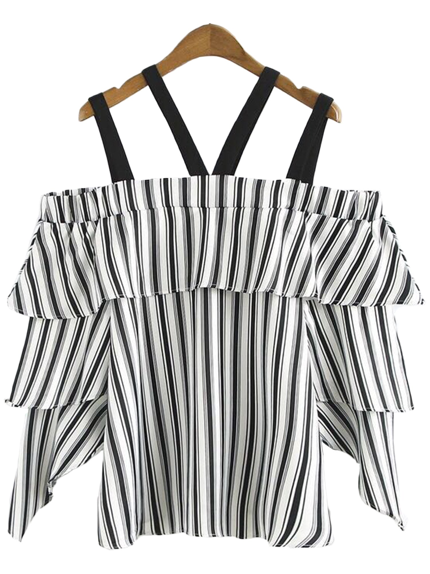 'Jolin' Strap Ruffle Off Shoulder Striped Top