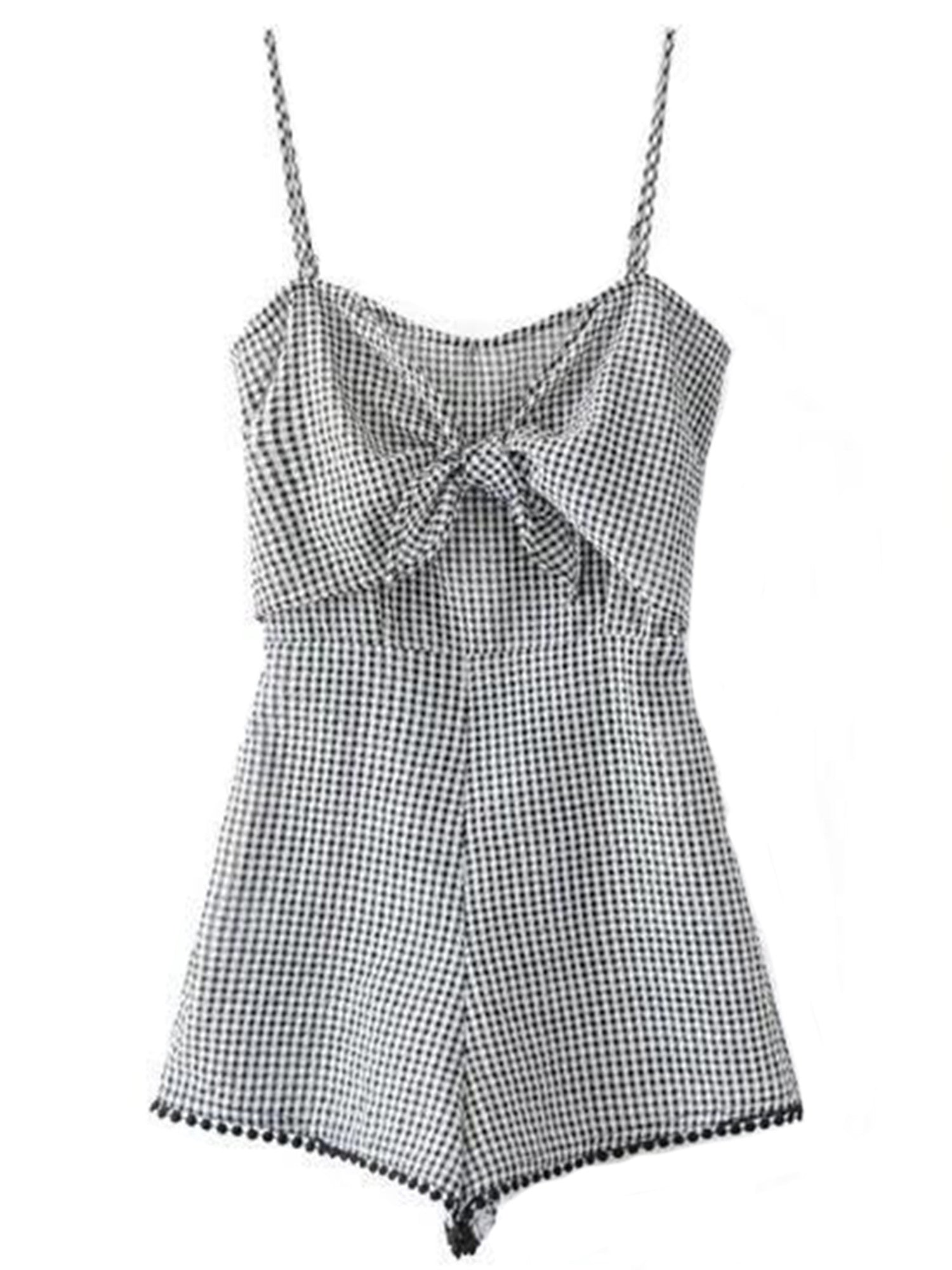 'Jessie' Plaid Front Bow Cami Romper