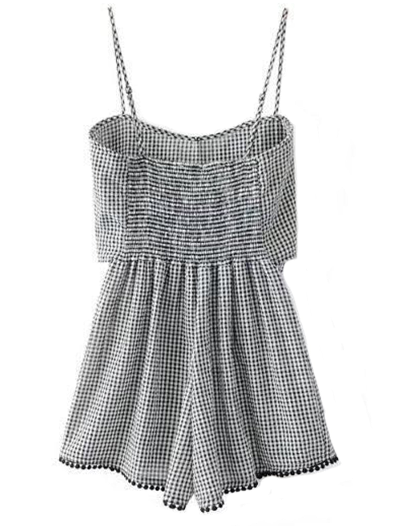 'Jessie' Gingham Front Bow Cami Romper