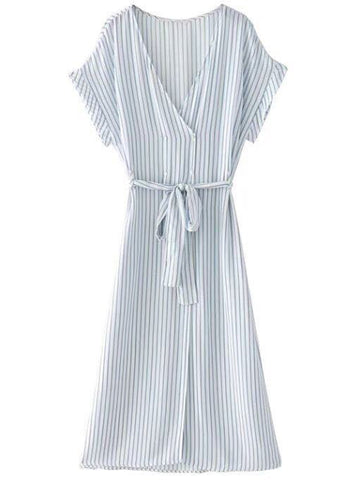 'Marjorie' Wrap Striped Short Sleeves Shirt Dress