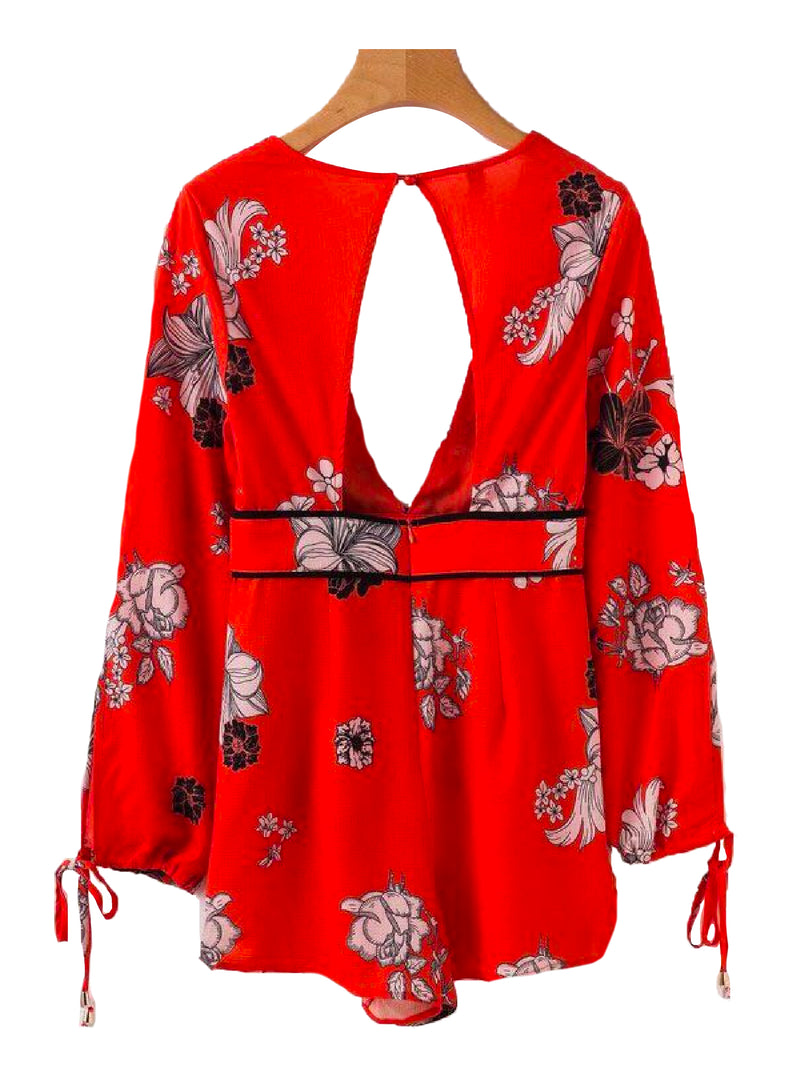 Goodnight Macaroon 'Bristol' Cut Out Floral Deep V-neck Romper Red Back