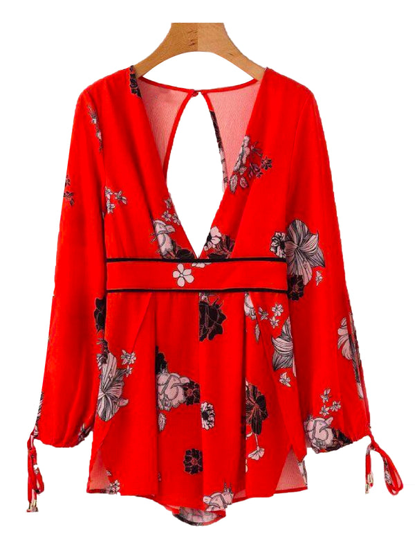 Goodnight Macaroon 'Bristol' Cut Out Floral Deep V-neck Romper Red Front