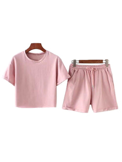 'Sania' Cropped Top and Pink Shorts Two Piece Set (2 Colors)