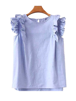 'Peony' Frilly Sleeveless Crewneck Top