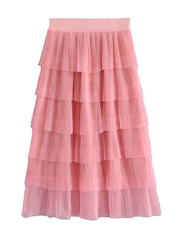 'Luna' Layered Ruffle Tulle Midi Skirt