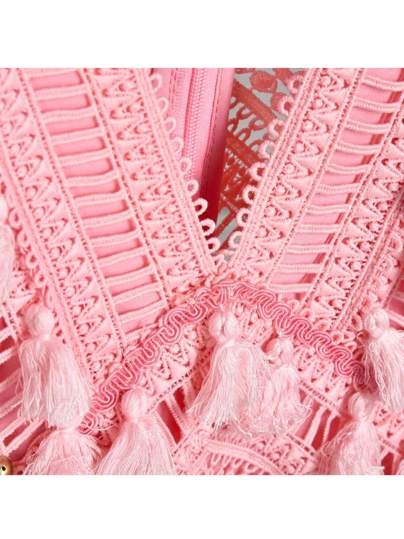 Goodnight Macaroon 'Ariana' Pink Tassels Crochet Lace Dress by Champagne & Chanel Detail