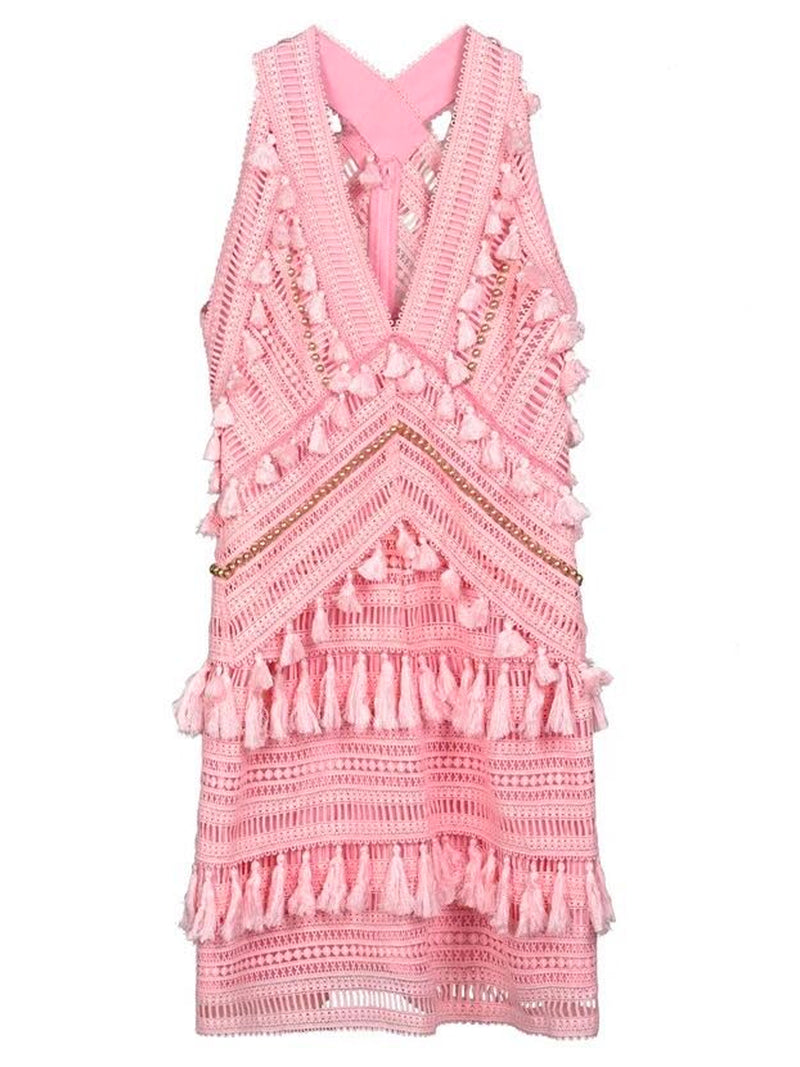 Goodnight Macaroon 'Ariana' Pink Tassels Crochet Lace Dress by Champagne & Chanel Front