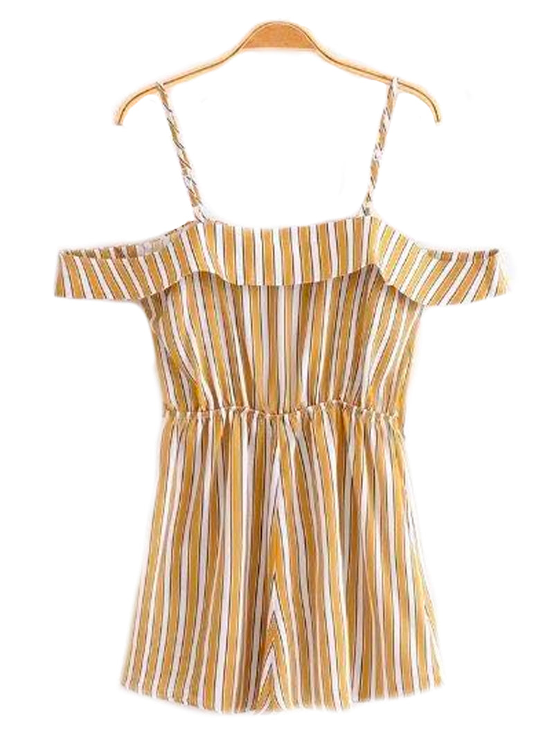 'Karisa' Ruffle Striped Romper