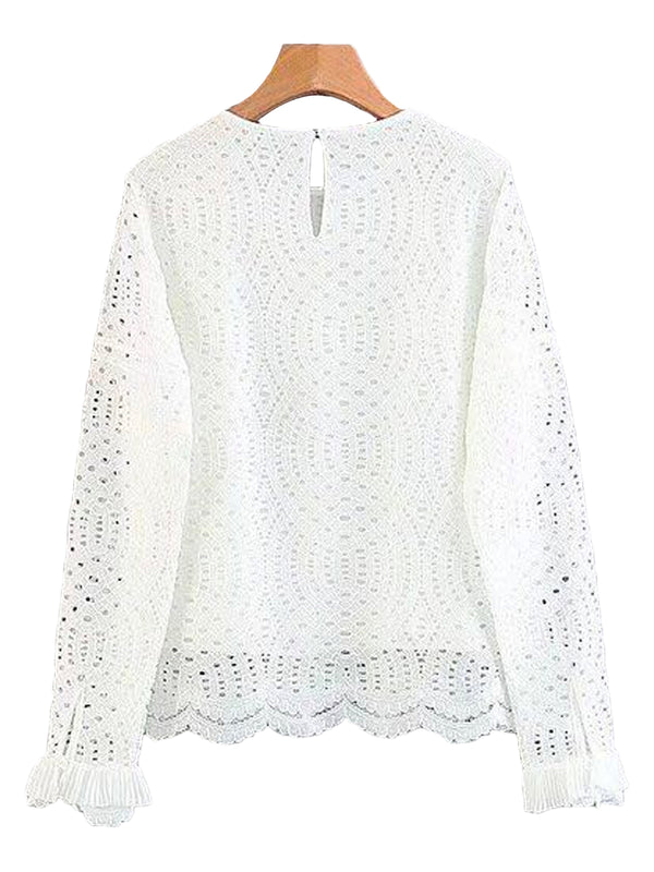 'Elica' Eyelet Scallop Hem Lace Top