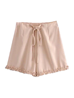 Goodnight Macaroon 'Avery' Drawstring Ruched Casual Shorts Pink Front