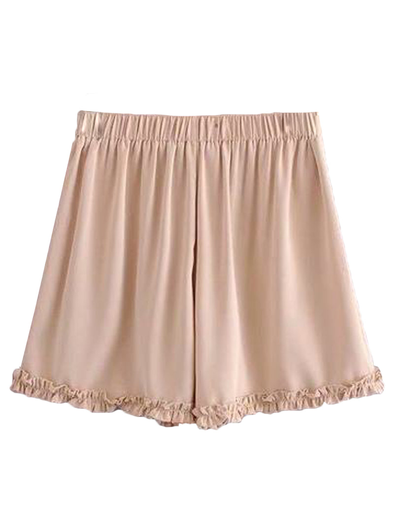 Goodnight Macaroon 'Avery' Drawstring Ruched Casual Shorts Pink Back