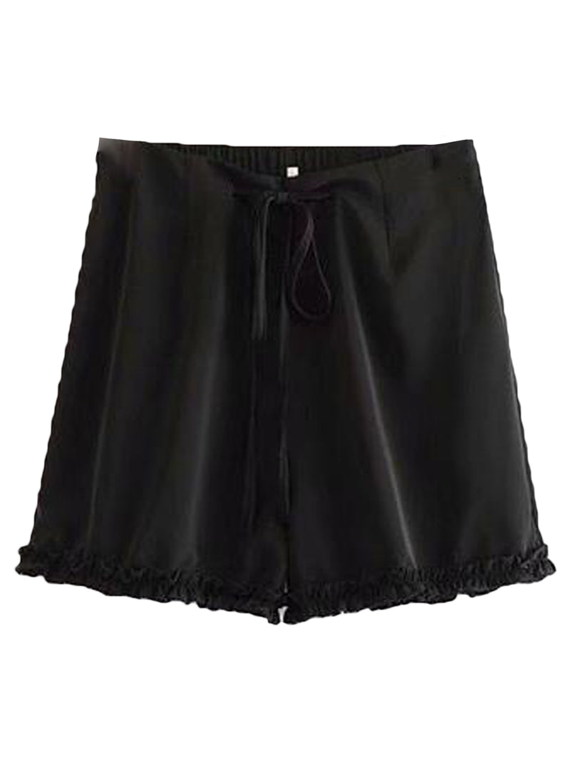 Goodnight Macaroon 'Avery' Drawstring Ruched Casual Shorts Black Front